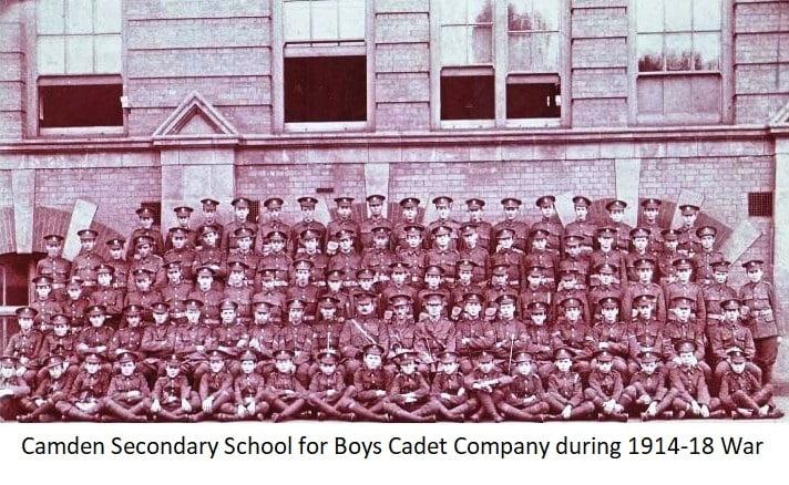 Camden Secondary School for Boys Cadet Company during 1914-18 war