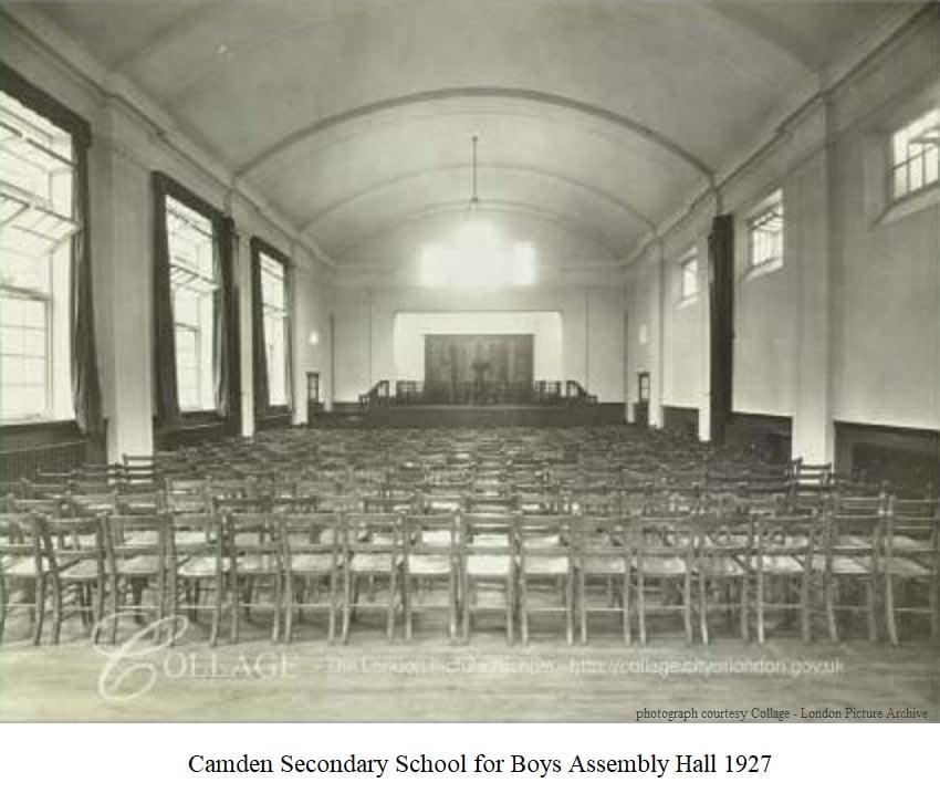 Camden Secondary School for Boys Assembly Hall 1927