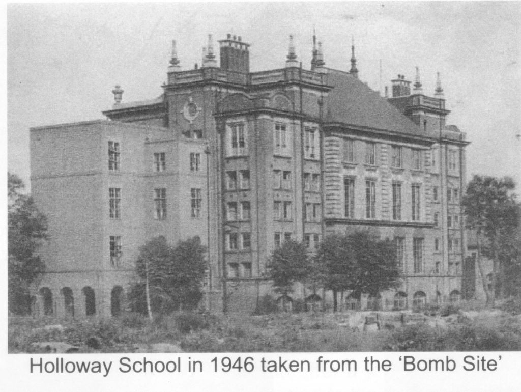 """Holloway School in 1946 taken from the """"Bomb Site"""""""