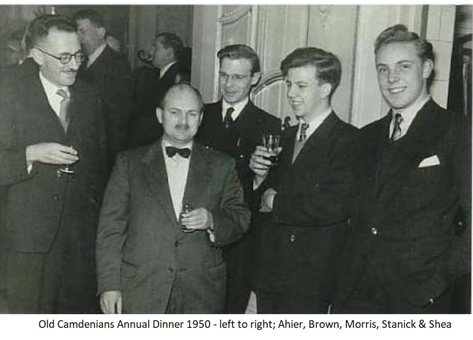 OCC Annual Dinner 1950 – Left to Right; Ahier, Brown, Morris, Stanick and Shea