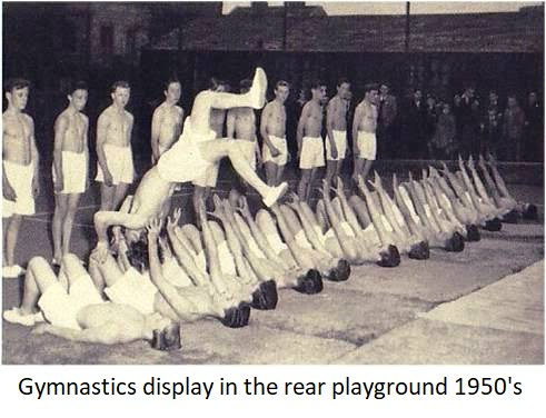 Gymnastics display in the rear playground 1950s