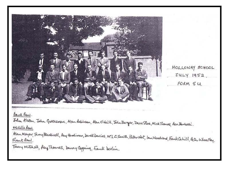 Holloway School July Form SU 1952