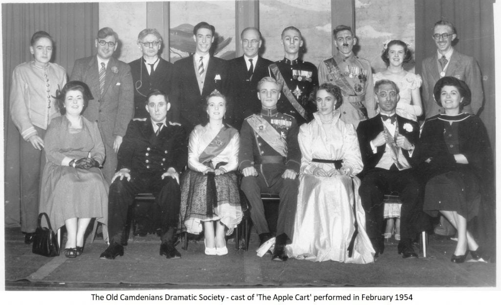 The Old Camdenians Dramatic Society – cast of 'The Apple Cart' performed in February 1954