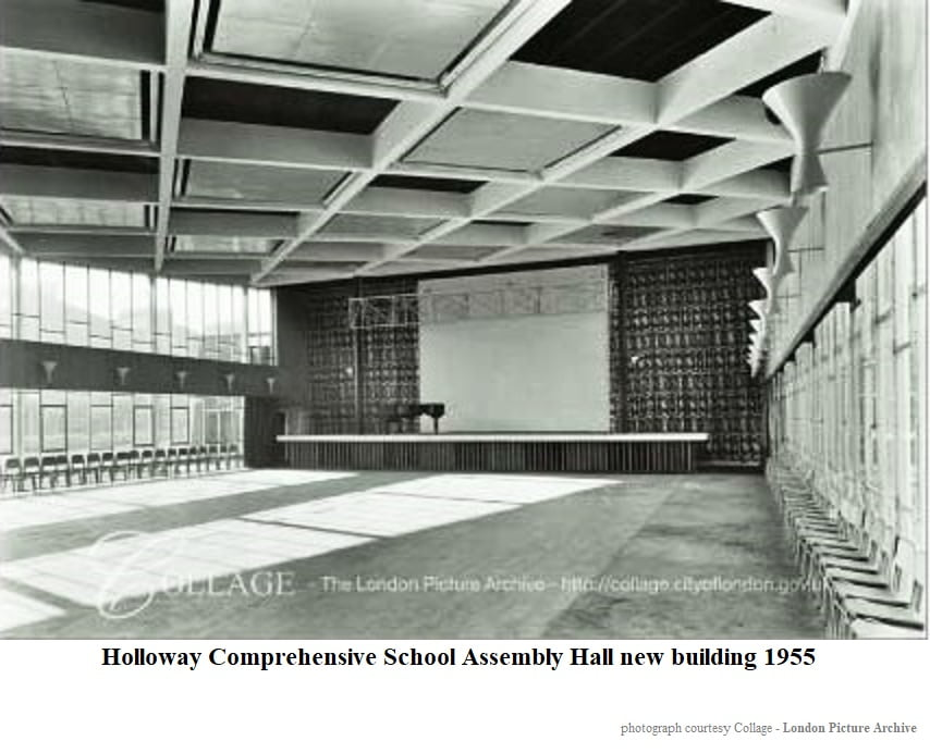 Holloway Comprehensive School Assembly Hall new building 1955