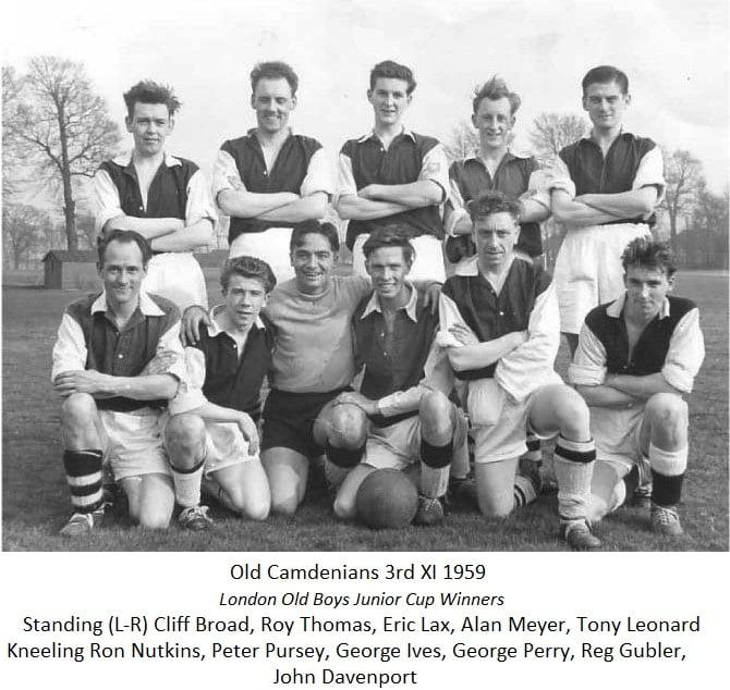 Old Camdenians 3rd Xl Junior Cup Winners 1959