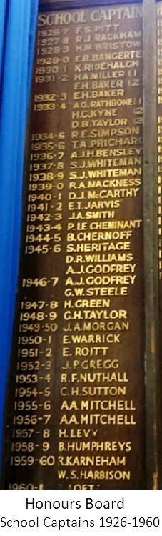 Honours Board School Captains 1926-1960
