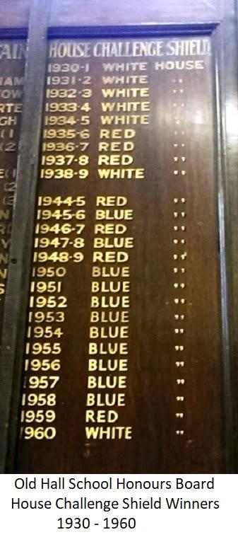 Old Hall School Honours Board House Challenge Shield Winners 1930-1960