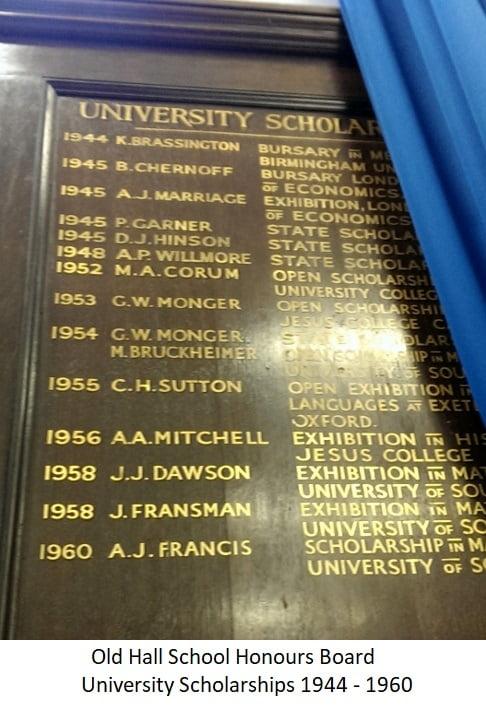 Old Hall School Honours Board University Scholarships 1944-1960