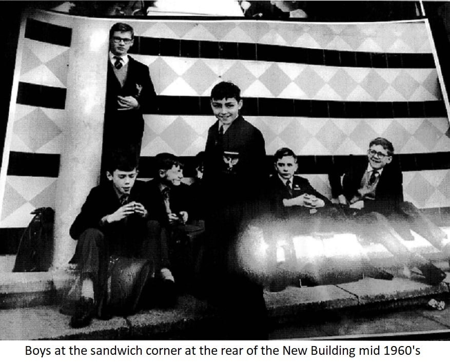 Boys at the sandwich corner at the rear of the New Building mid 1960s
