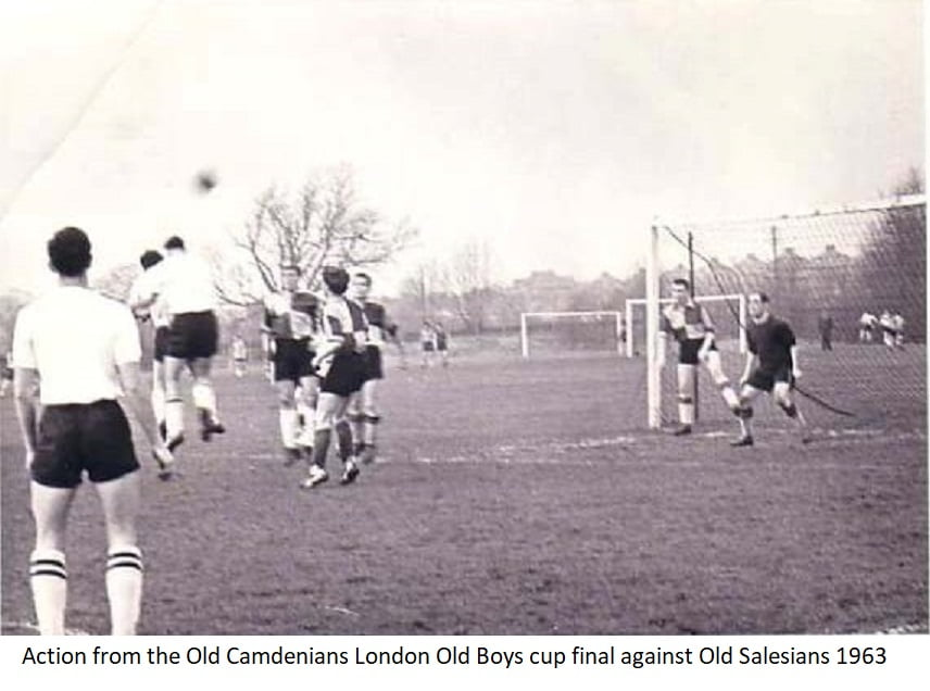 Action from the Old Camdenians London Old Boys cup final against Old Salesians 1963