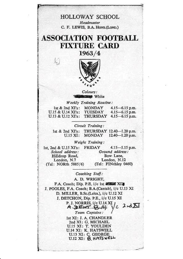 Holloway School Association Football Fixture Card