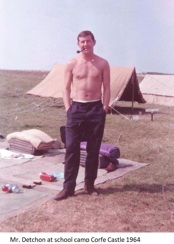 Mr. Detchon at school camp Corfe Castle 1964