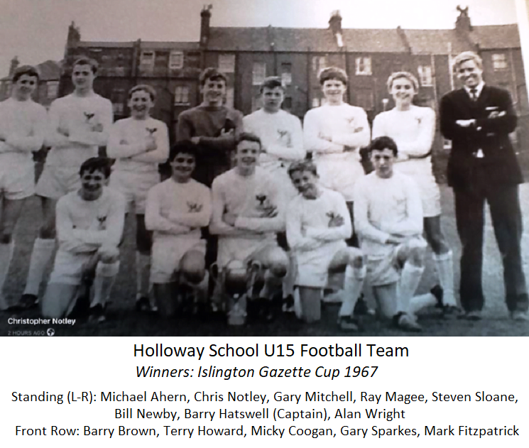Holloway School U15 Football Team – Winners: Islington Gazette Cup 1967
