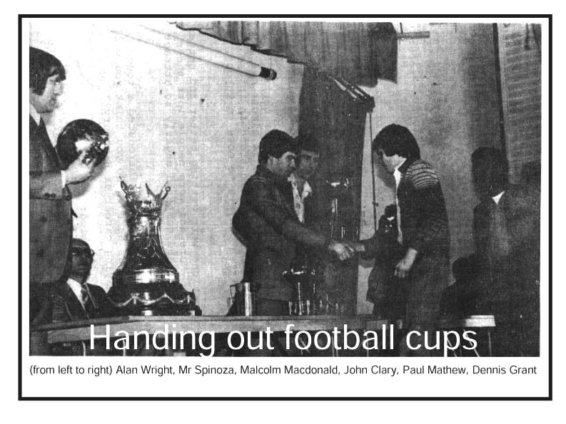 Handing out football cups 1978