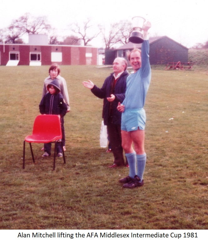 Alan Mitchell lifting the AFA Middlesex Intermediate Cup 1981