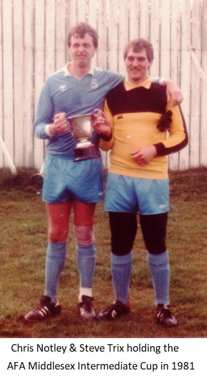 Chris Notley & Steve Trix holding the AFA Middlesex Intermediate Cup in 1981