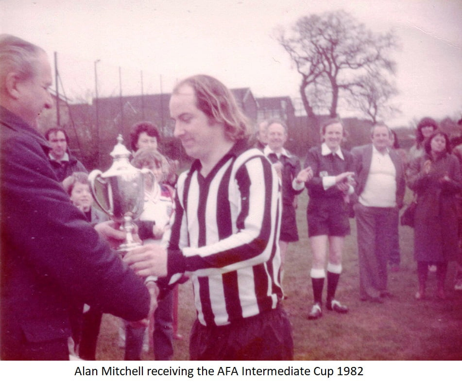 Alan Mitchell receiving the AFA Intermediate cup 1982