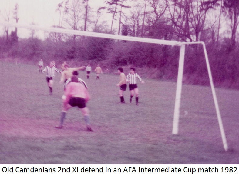 Old Camdenians 2nd Xl defend in an AFA Intermediate Cup match 1982