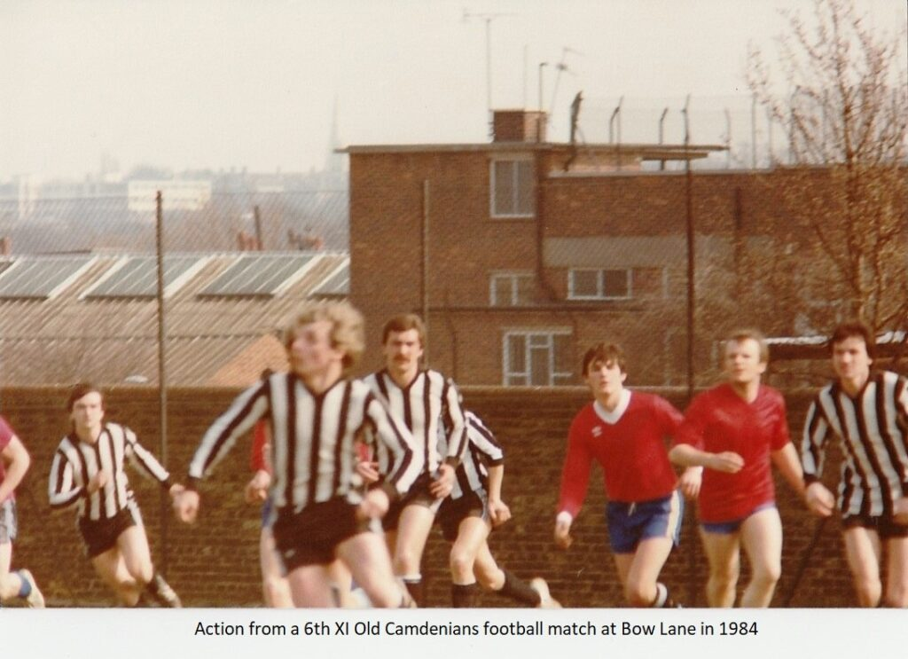 Action from a 6th Xl Old Camdenians football match at Bow Lane 1984