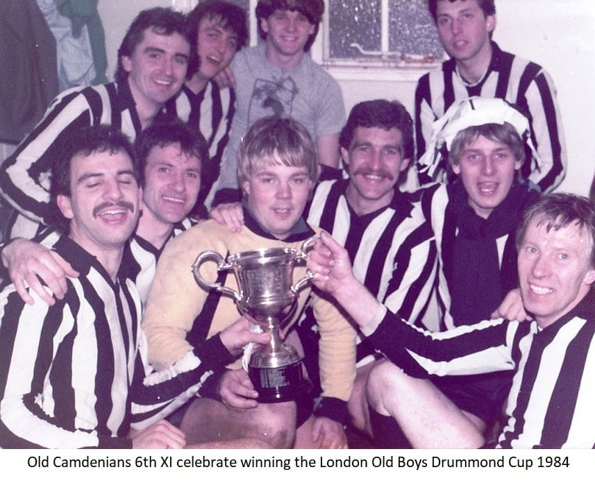 Old Camdenians 6th Xl celebrate winning the London Old Boys Drummond cup 1984
