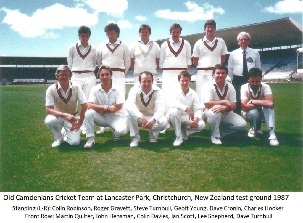 Old Camdenians Cricket Team at Lancaster Park, Christchurch, New Zealand test ground 1997