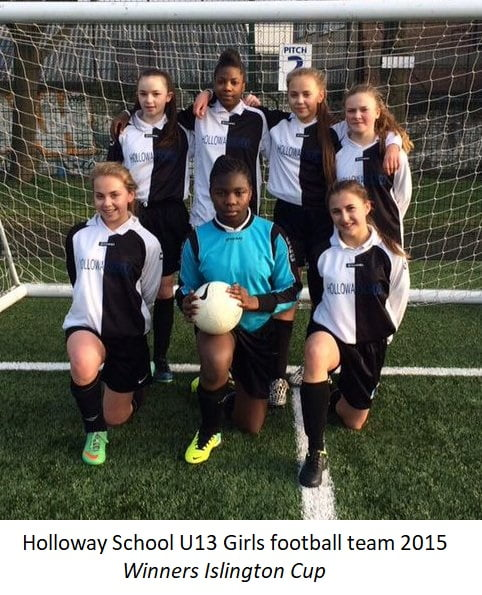 Holloway School U13 Girls football team 2015 – Winners Islington Cup