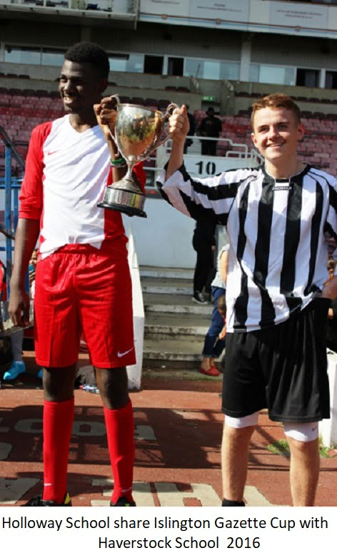 Holloway School share Islington Gazette Cup with Haverstock School 2016