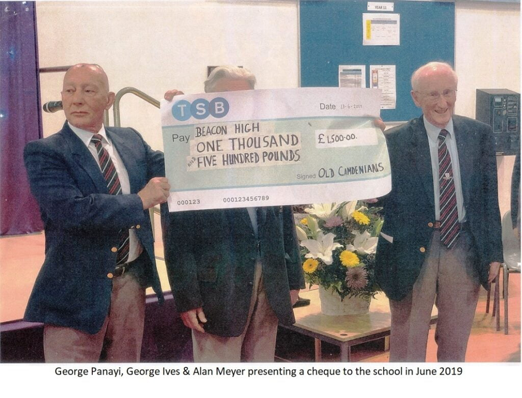 Alan & George cheque to school 2019