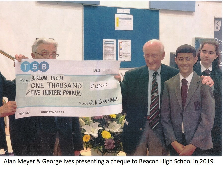 Alan & George presenting cheque to Beacon High School 2019